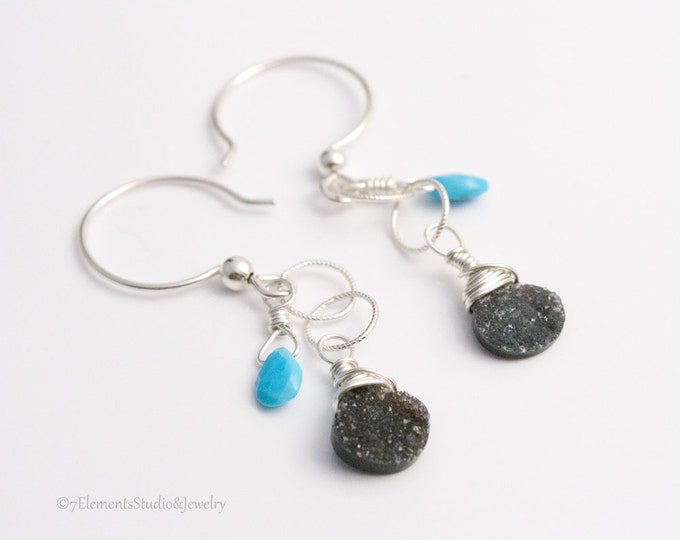 Black Druzy Quartz and Sleeping Beauty Turquoise Earrings, Sterling Silver Dangle Earrings with Druzy Quartz and Turquoise