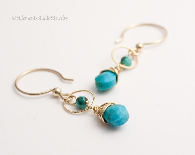 Kingman Turquoise Briolette Earrings, Turqoise and Gold Dangle Earrings