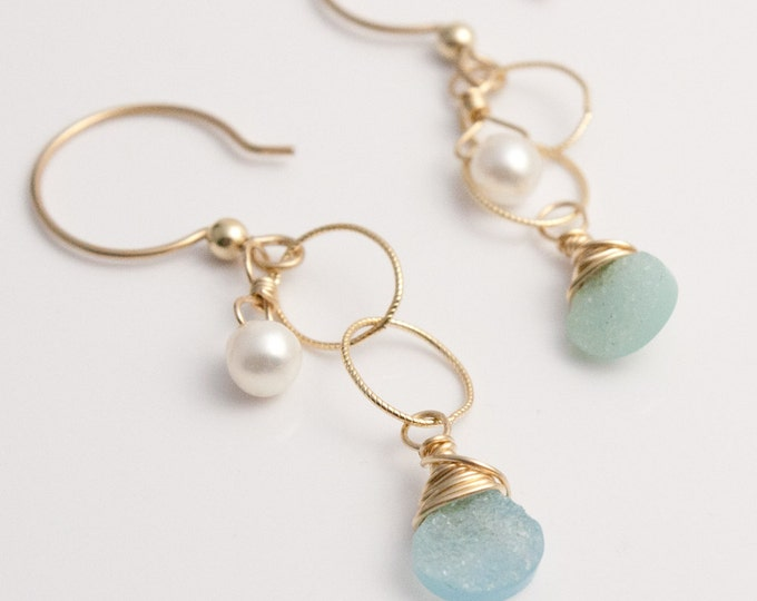 Druzy Quartz, Pearl and 14K Gold Fill Earrings, Aqua-blue Druzy Quartz Briolette Earrings