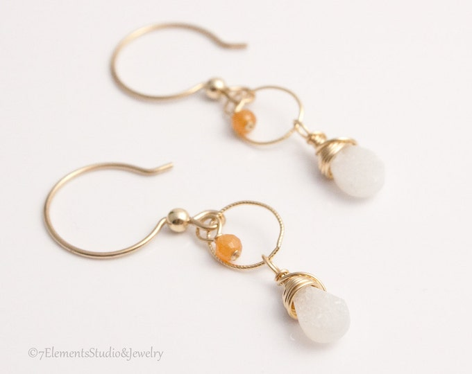 White Druzy Quartz Briolette Earrings, 14K Gold Fill, Druzy Quartz and Peach Aventurine Earrings
