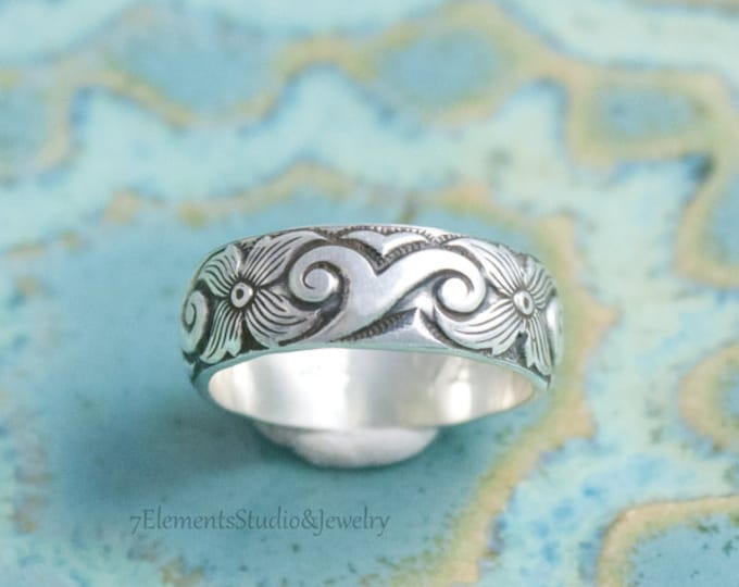 Ocean Wave Silver Ring, Sterling Ring for Men and Women, Kai Ring