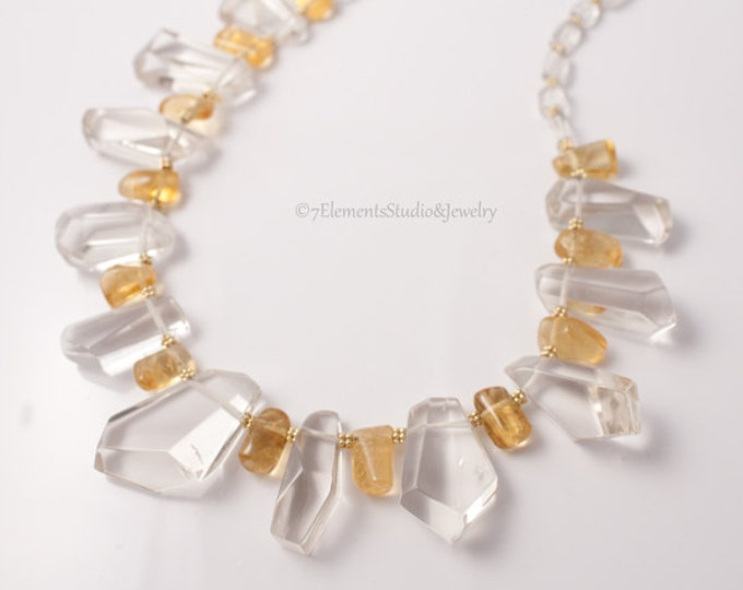 Crystal Quartz, Citrine and 14K Gold Necklace