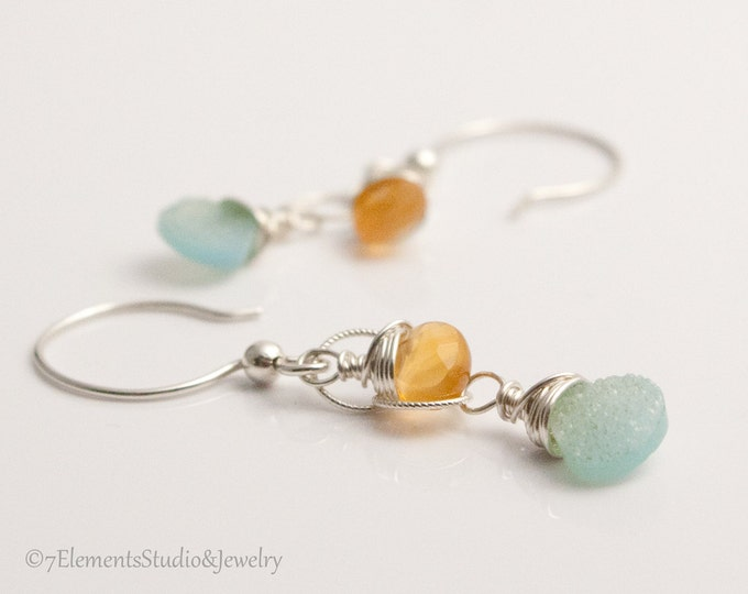 Aqua-blue Druzy Quartz Earrings, Long Sterling Silver Earrings with Druzy Quartz and Carnelian Briolettes