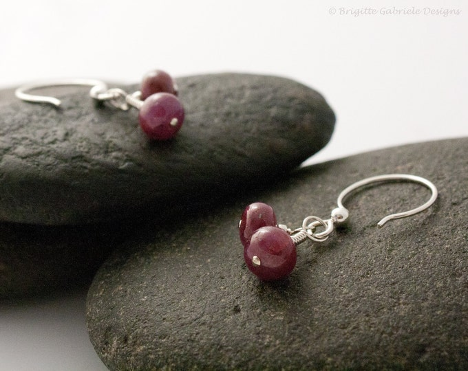 Ruby + Sterling Silver Earrings