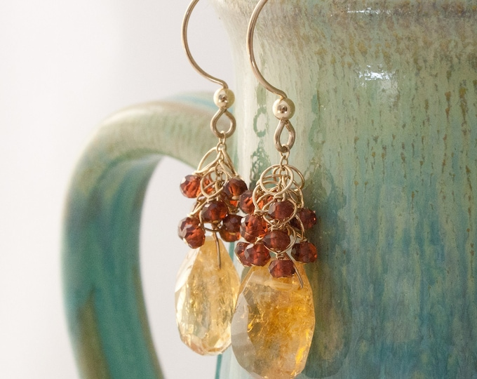 Citrine Sway Earrings with Red Garnet Clusters and 14K Gold Fill, Hand Cut Citrine and Garnet Earrings