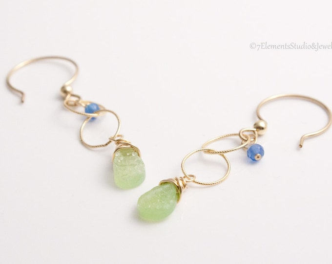 Druzy Quartz and 14K Gold Fill Earrings, Green Druzy Quartz and Blue Onyx Dangle Earrings