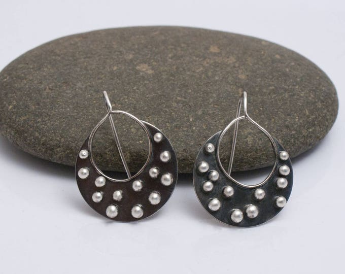 Round Studded Earrings, Fused Silver Earrings