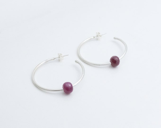 Silver Hoop Post Earrings with Rubies, High Karat Argentium Silver Hoops