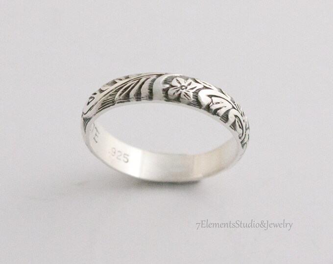 Sterling Ring, 4mm Leaf and Flower Pattern Wedding Band, Oxidized Silver Woodland Ring, Stackable Patterned Ring