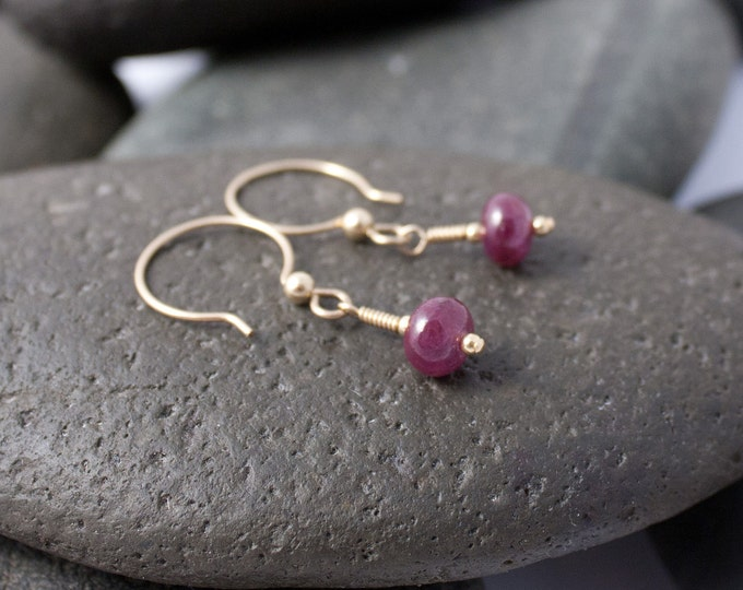 Handmade Natural Ruby and Gold Fill Earrings, July Birthstone Earrings