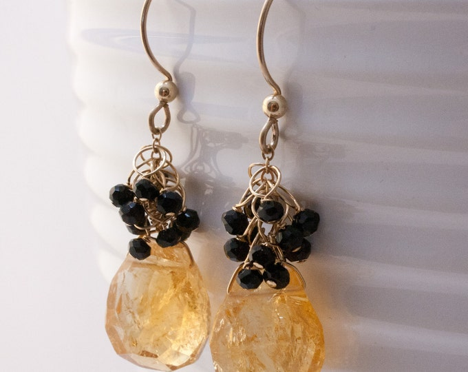 Citrine Sway Earrings with Spinel Clusters and 14K Gold Fill Earwires