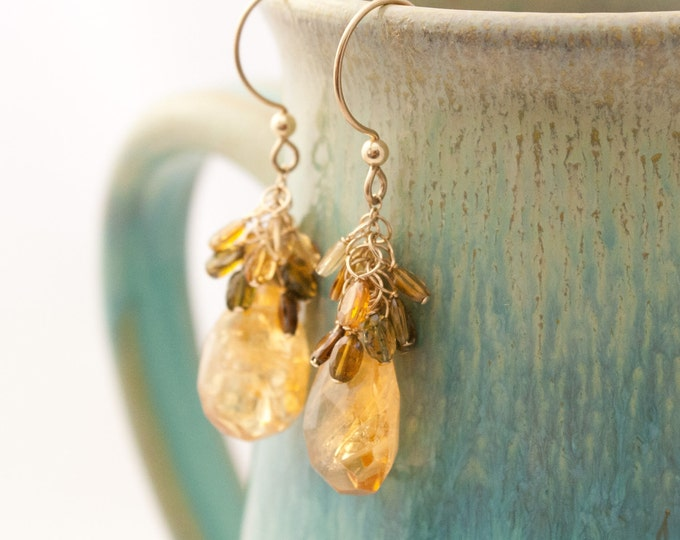 Citrine Sway Earrings with Tourmaline Clusters & 14K Gold Fill