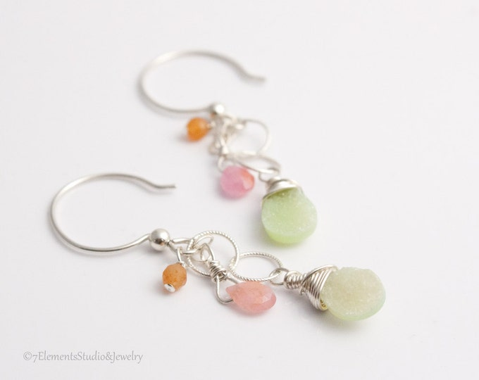 Druzy Quartz and Sapphire Earrings, Green Druzy + Pink Sapphire + Peach Aventurine Earrings