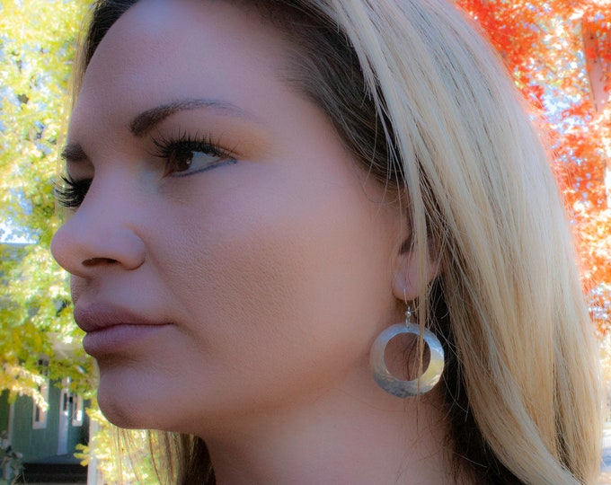 Concave Hammered Silver Circle Earrings, Domed Earrings