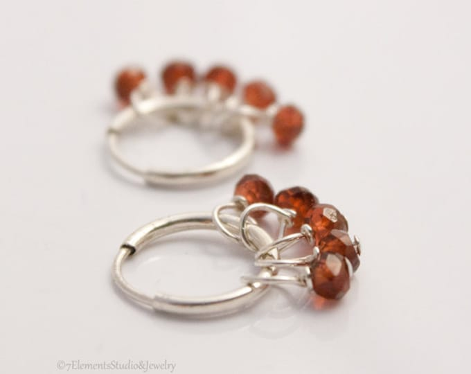 Sterling Silver Hoop Earrings with Red Garnets