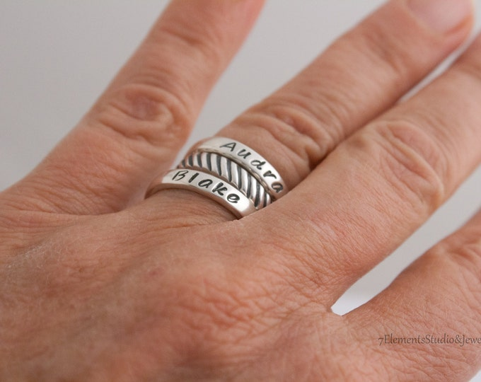 Ring, Sterling Rope Design Ring, Stacking Spacer Ring, Patterned Sterling Silver Band
