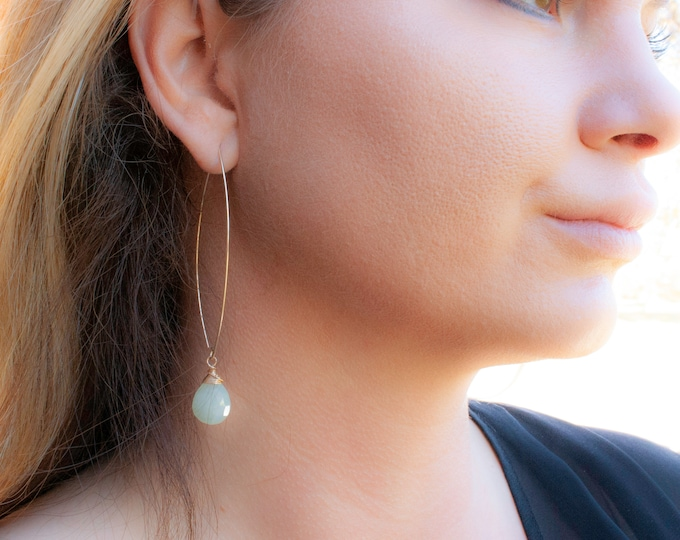 Green Titanium Chalcedony and 14K Gold Fill Earrings
