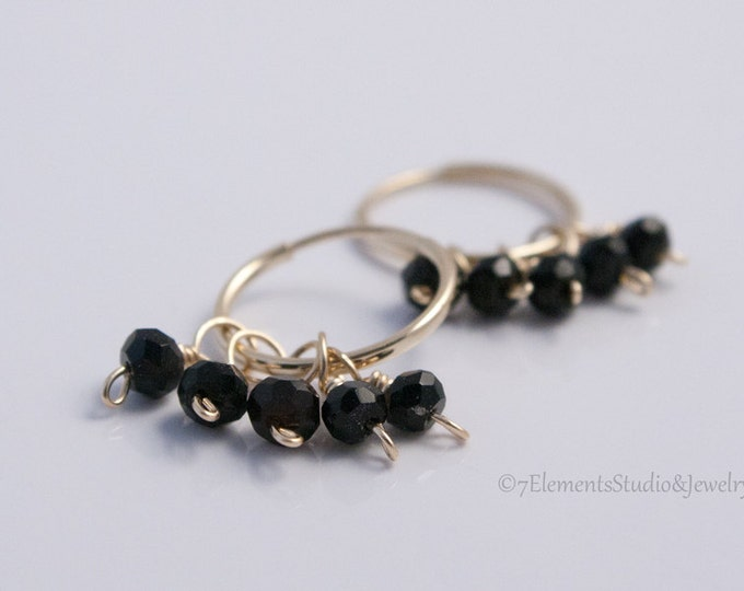 14K Gold Endless Hoop Earrings with Black Spinel, Small Gold Endless Hoops