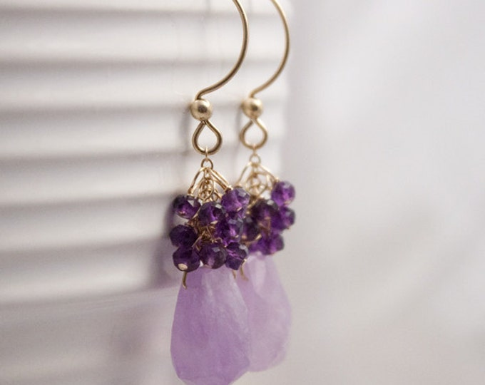 Amethyst and Gold Fill Earrings, Lilac Amethyst Sway Earrings with dark Amethyst clusters