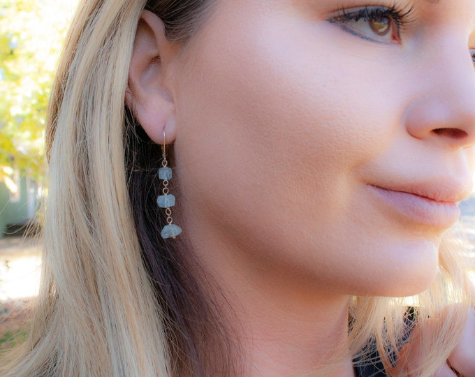 14K Gold and Aquamarine Nugget Earrings