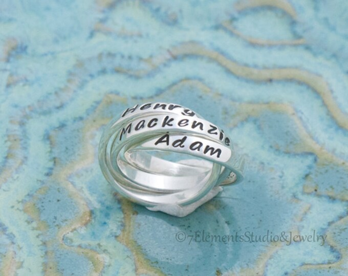 Triple Mother's Ring, Interlocking Name Rings, Personalized Rolling Rings, Nested Sterling Silver Rings
