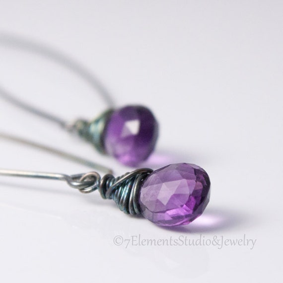 Amethyst and Sterling Silver Bend Earring