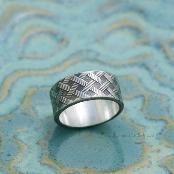 Sterling Crosshatch Weave Ring, His and Hers Wide Silver Rings, Wide Oxidized Ring