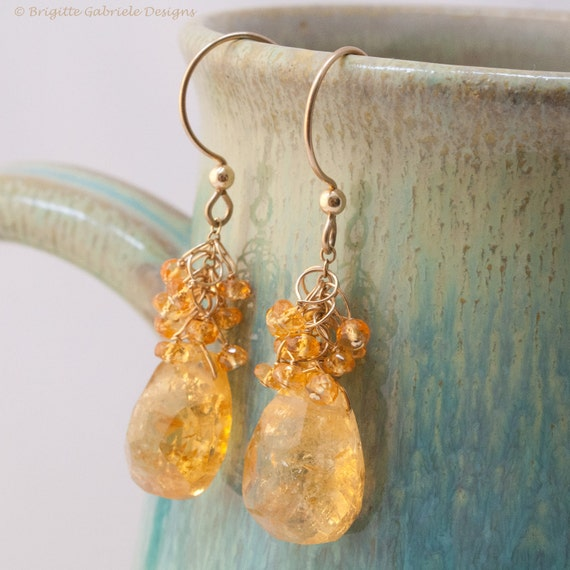 Citrine Sway Earrings with Spessartite Garnet Clusters and 14K Gold Fill Earwires