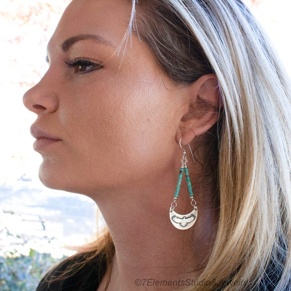 Silver Eagle/Thunderbird Earrings with Turquoise, Fused Argentium Eagle Earrings