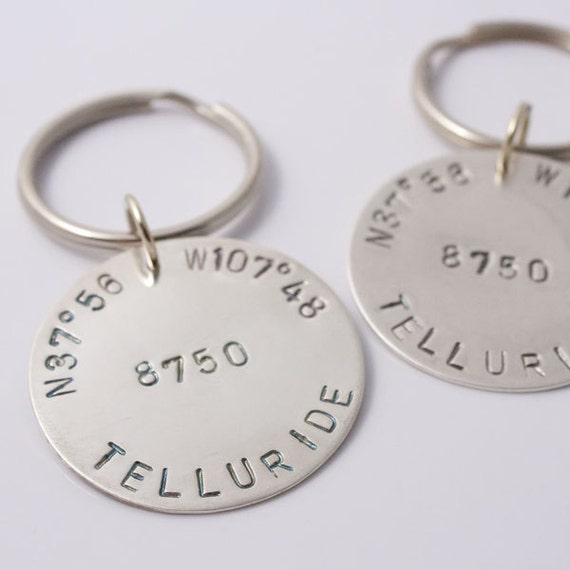 Telluride Keychain, Hand Stamped Sterling Keyfob, Custom Silver Keychain