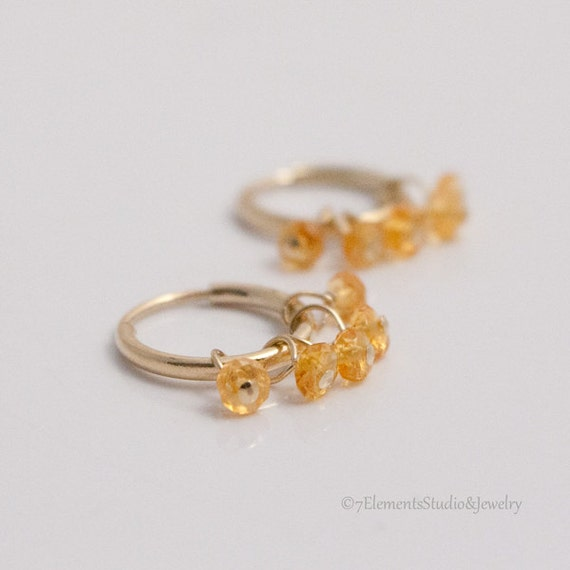 Gold Fill Hoops with Citrines, Endless Hoop Earrings