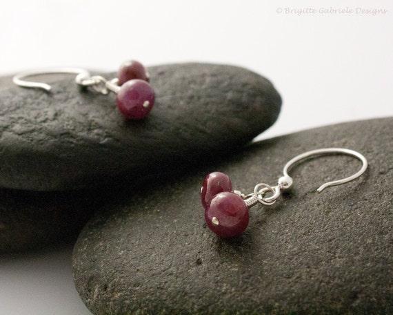 Ruby + Sterling Silver Earrings
