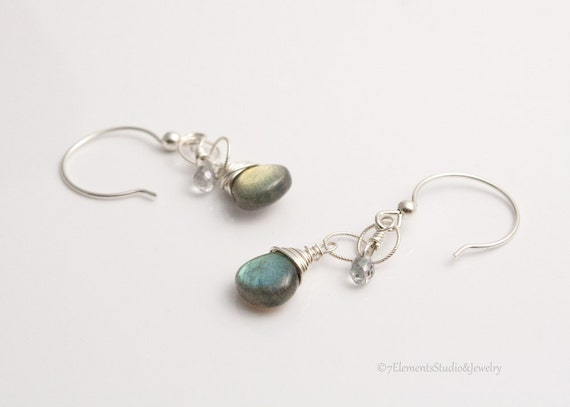 Labradorite, Topaz and Silver Earrings, Long Silver Earrings with Labradorite and Mystic Topaz Briolettes