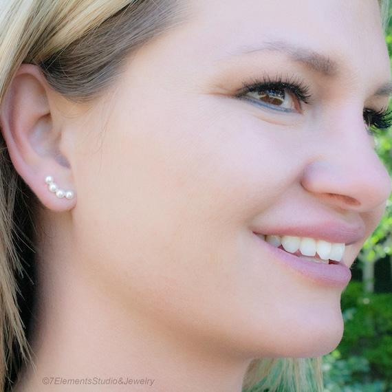 4 Stud Earrings, Fused Argentium Silver Stud Earrings