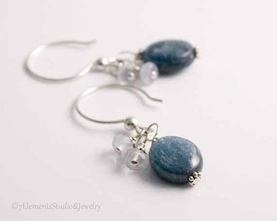 Sterling Silver and Blue Kyanite Earrings
