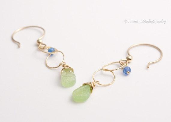 Druzy Quartz and 14K Gold Fill Earrings, Green Druzy Quartz and Blue Onyx Dangle Earrings
