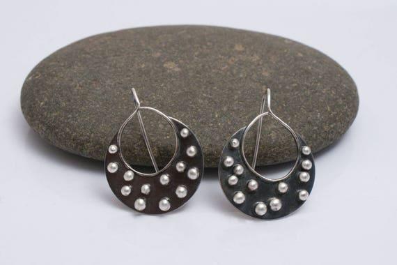 Round Studded Earrings, Fused Silver Earrings