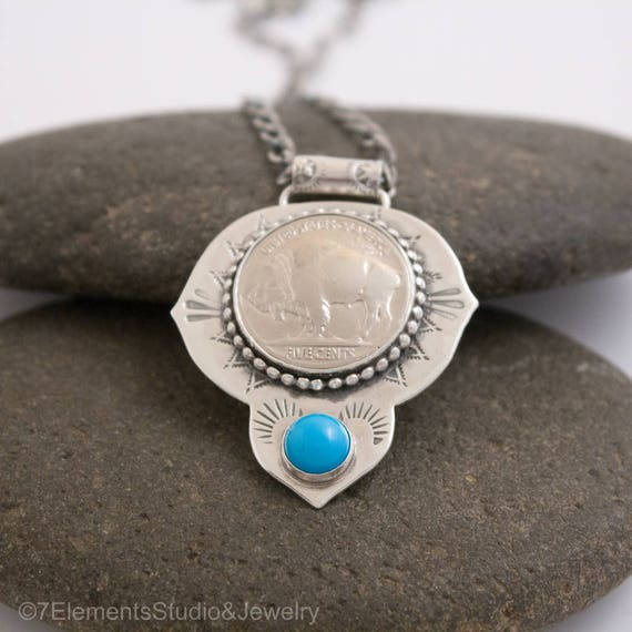 Buffalo Gal Necklace, Buffalo Nickel Necklace with Cabochon