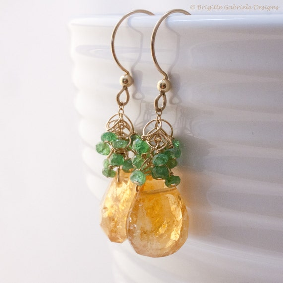 Citrine Sway Earrings with Tsavorite Clusters and 14K Gold Fill Earwires, Unique Handmade Citrine and Tsavorite Gemstone Earrings