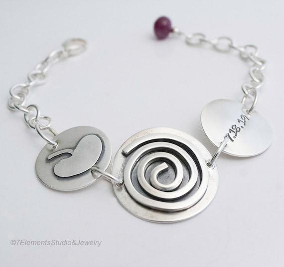Fused Silver Spiral Bracelet, Healing Spiritual Journey Spiral Bracelet
