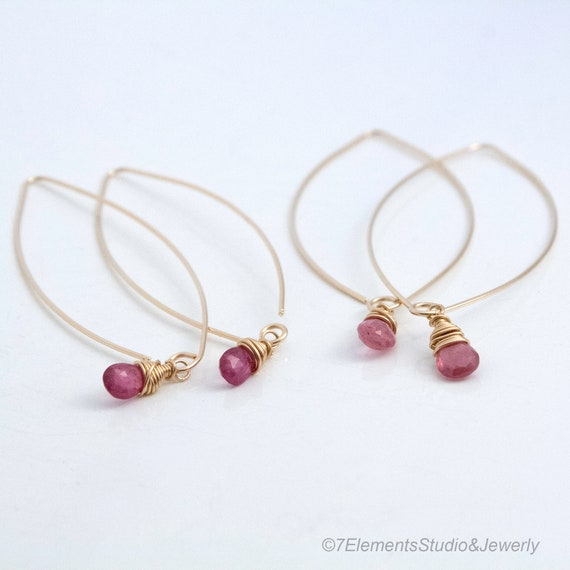 14K Gold Fill and Pink Sapphire Earrings
