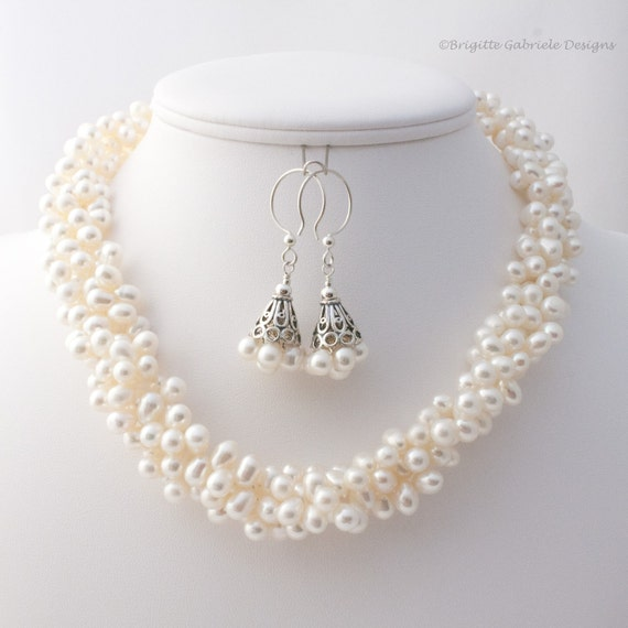 Triple Strand Off-White Pearl Necklace, Adjustable Length Pearl Necklace