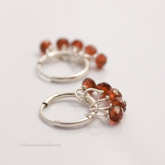 Sterling Silver Hoop Earrings with Red Garnets