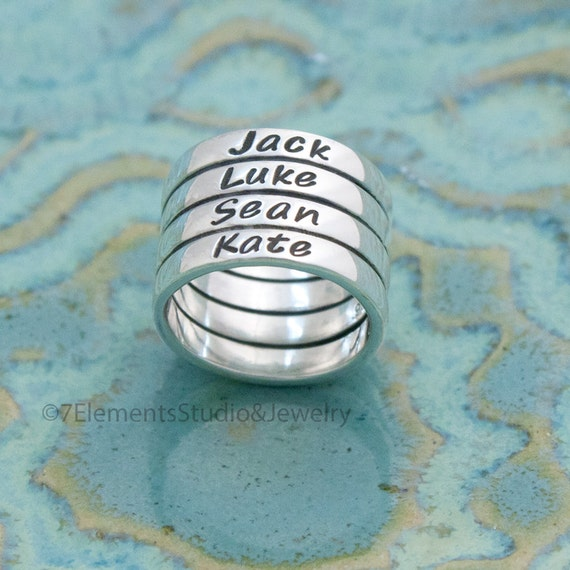 Sterling Tube Ring, Stacked Name Ring, Mother's Ring, Personalized Ring