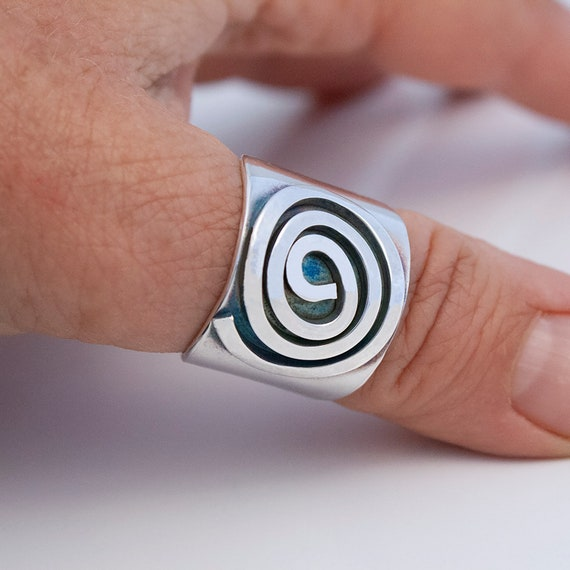 Spiral Sterling Ring, Wide Silver Ring
