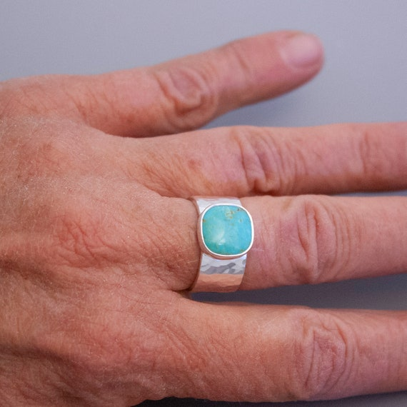 Kingman Turquoise and Sterling Silver Ring, Turquoise Cushion Cabochon with Wide Hammered Sterling Band