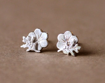 Tiny Silver Rose of Sharon Earrings - Silver Flower - Sterling Silver - Rose - Sharon - Fine Jewelry - Gift
