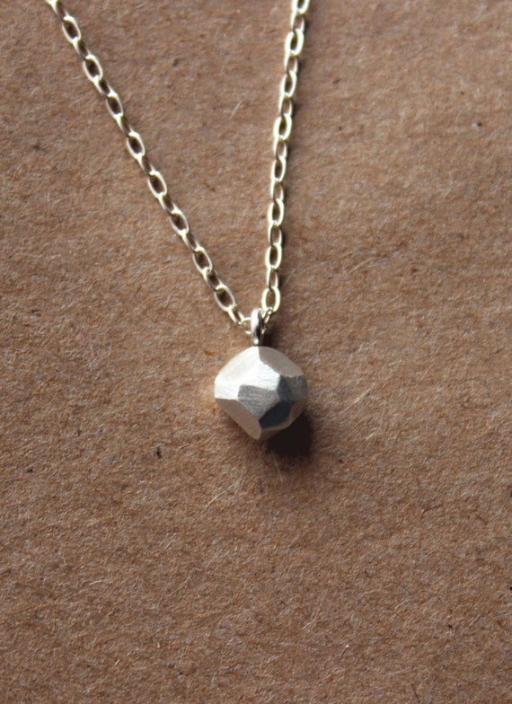Tiny Fine Silver Faceted Nugget Necklace- Tiny Simple Necklace - Fine Jewelry - Faceted Nugget Pendant - Geometric - Unique