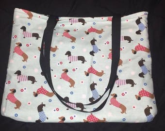 Dachshund Flannel Fabric Bag with Embroidered Red Interior