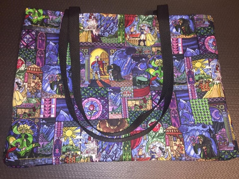 Made to Order Beauty and the Beast Stained Glass Cotton Fabric Bag